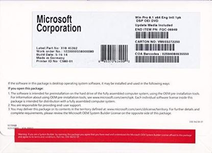 Picture of WINDOWS 8 64 BIT ENG 1PK DSP OEI